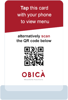 Branded Contactless Menu Card